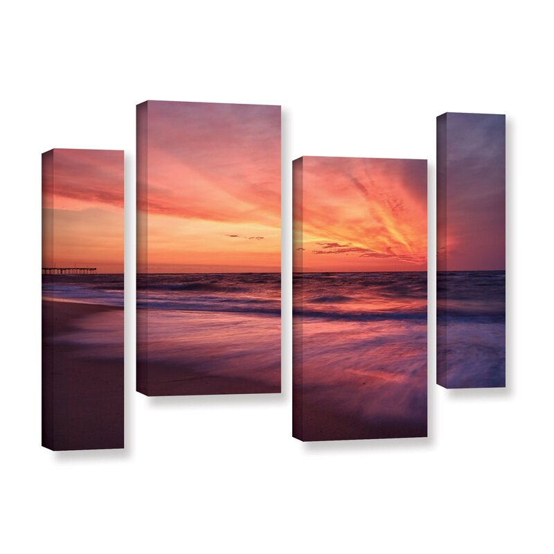 Outer Banks Sunset II by Dan Wilson 4 Piece Photographic Print on Wrapped Canvas Set