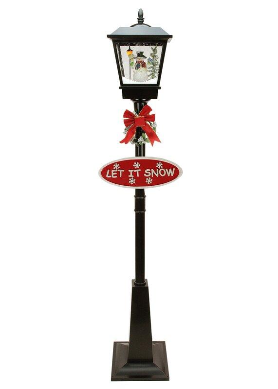 Lighted Musical Snowman Vertical Snowing Christmas Street Lamp