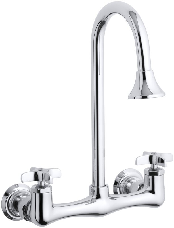 Triton Double Cross Handle Utility Sink Faucet with Rosespray Gooseneck Spout