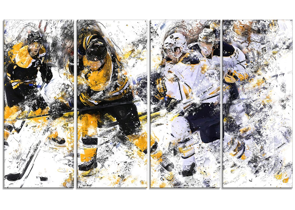 Hockey Power Play 4 Piece Graphic Art on Wrapped Canvas Set