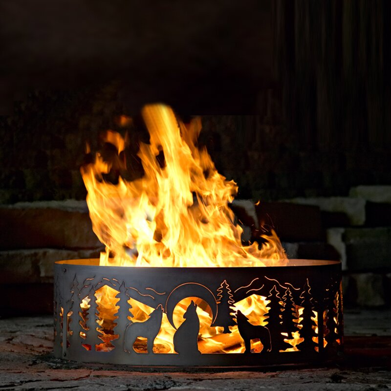 Wolves Steel Wood Burning Fire ring