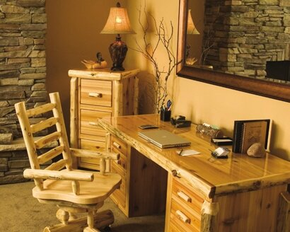Traditional Cedar Log 3-Piece Standard Desk Office Suite