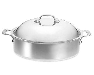 D3 6 Qt. Stainless Steel Round Braiser with Lid