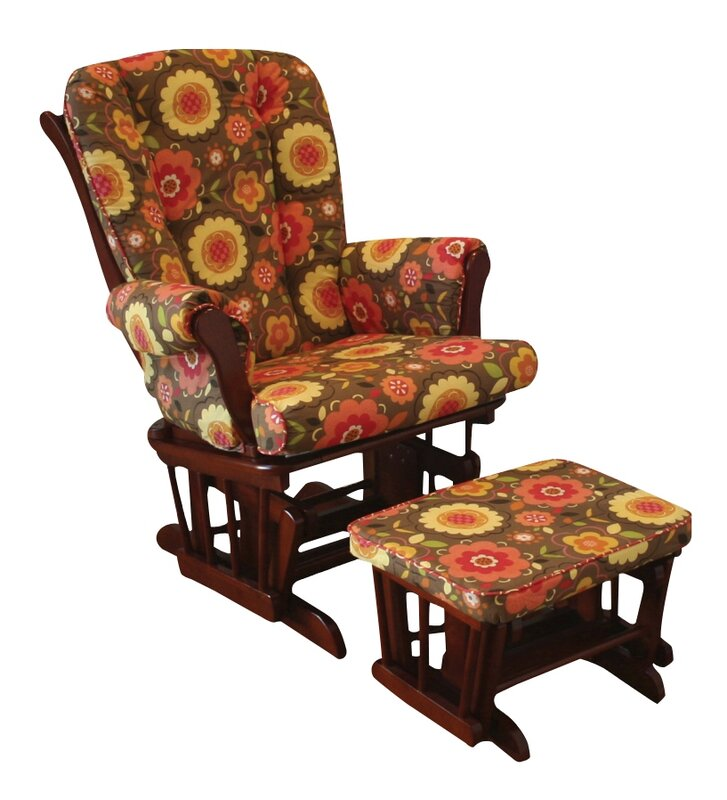 Peggy Sue Floral Glider and Ottoman