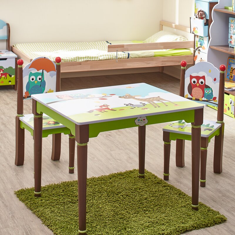 Enchanted Woodland Kids 3 Piece Writing Table and Chair Set