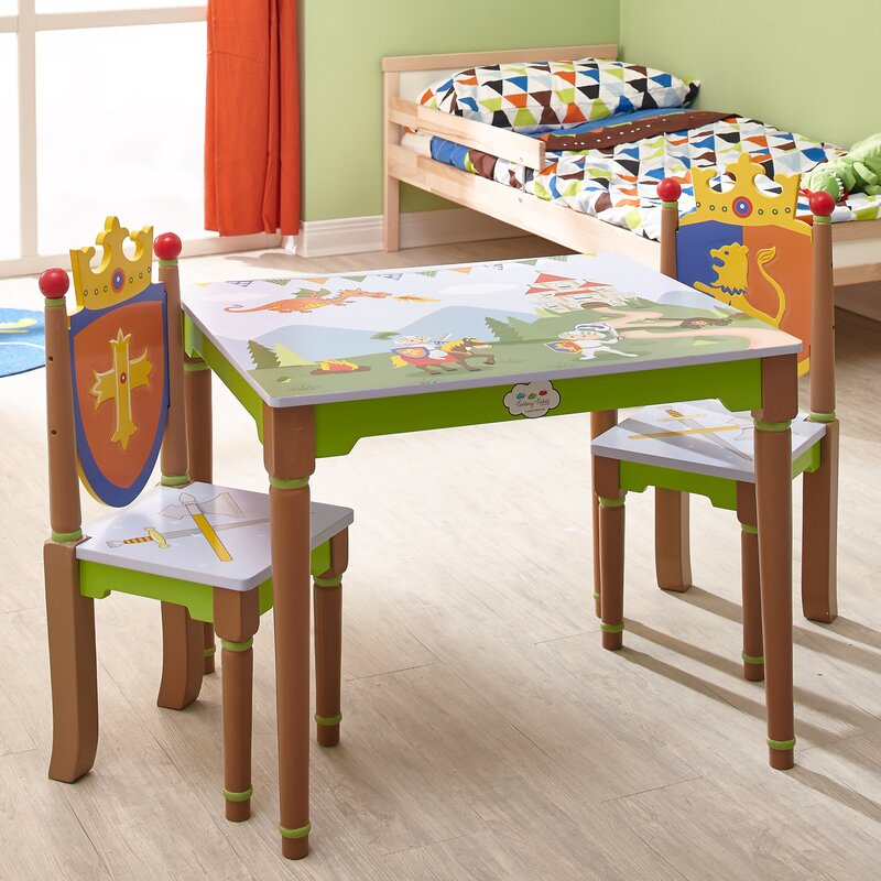 Knights & Dragons Kids 3 Piece Writing Table and Chair Set
