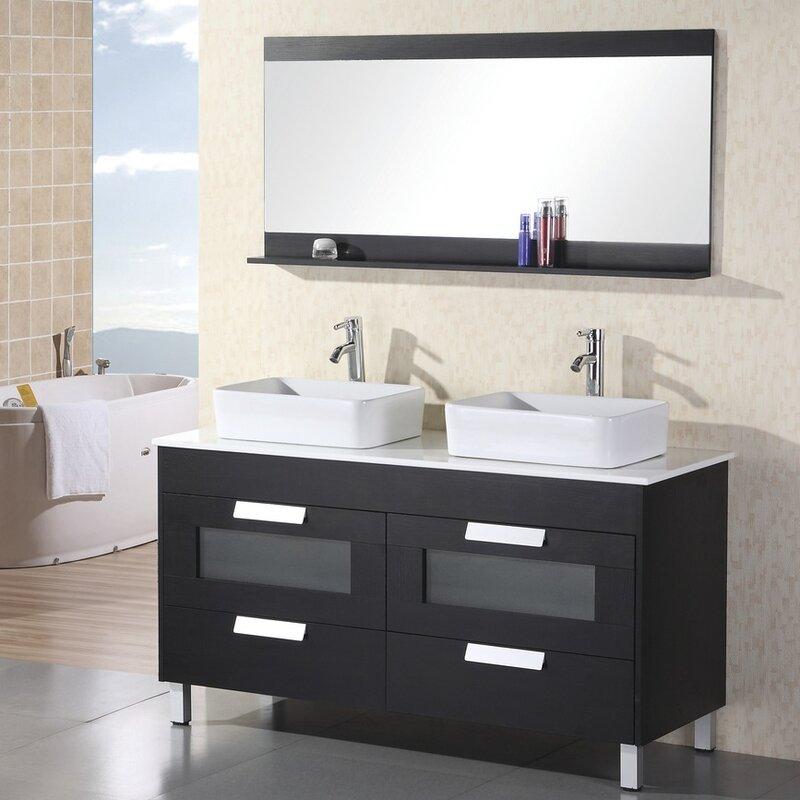 """Warren 55"""" Double Bathroom Vanity Set with Mirror"""