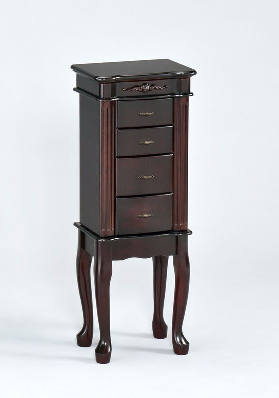 Traditional Jewelry Armoire with Mirror