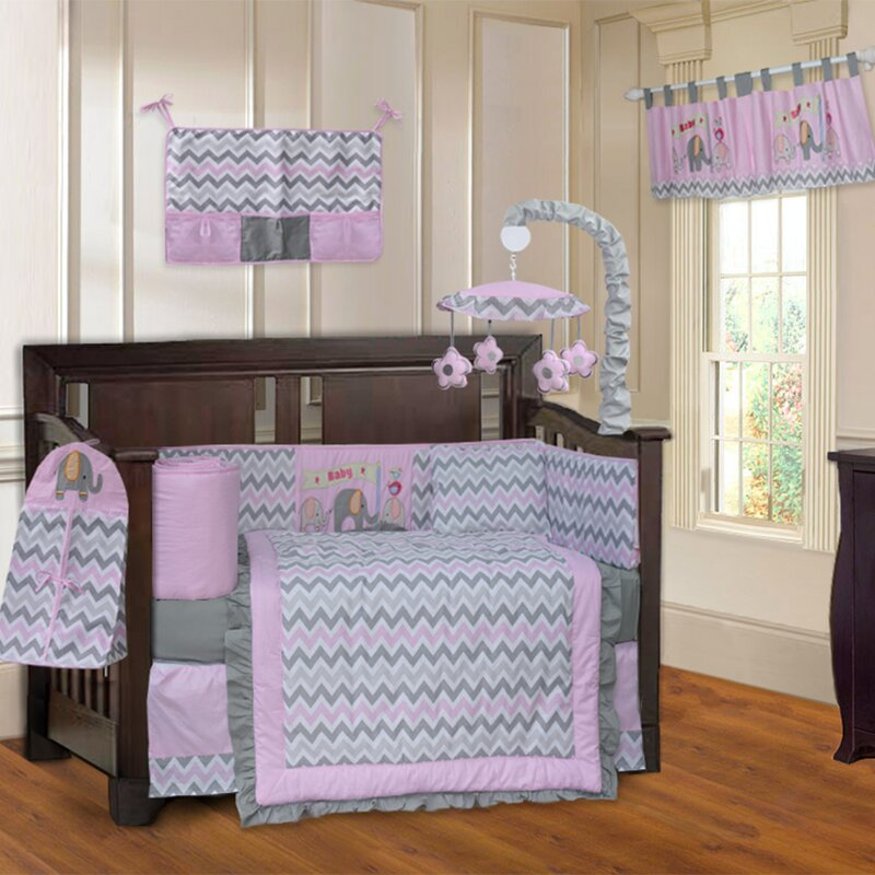 Elephant Zigzag 10 Piece Crib Bedding Set