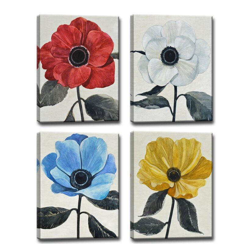 'Graceful Poppy I-IV' Painting Print on Wrapped Canvas