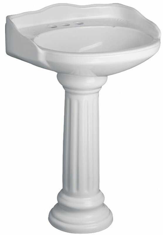 Victoria Vitreous China Circular Pedestal Bathroom Sink with Overflow