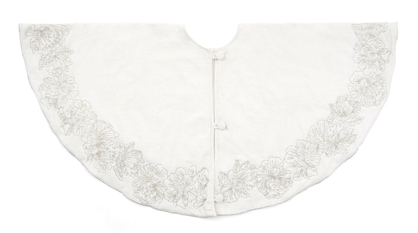 Hand Beaded Floral Border Skirt on Cotton Slub