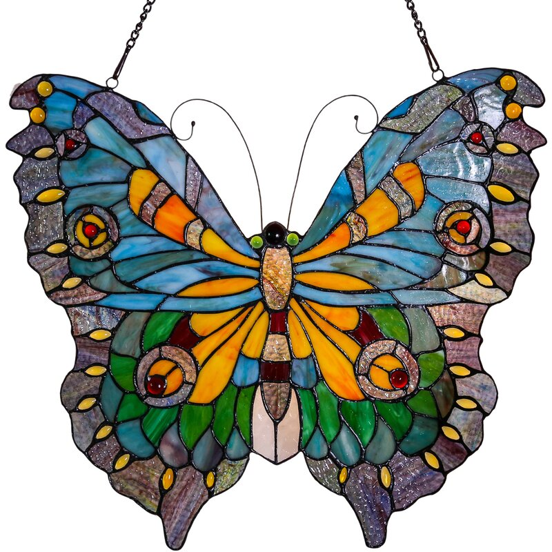 Swallowtail Butterfly Tiffany Style Stained Glass Window Panel