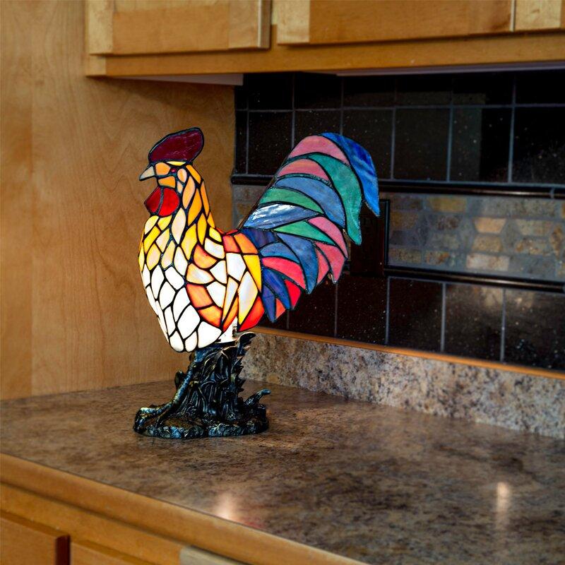 "Adlam Rooster 15"" Lighted Art Glass Novelty Light"