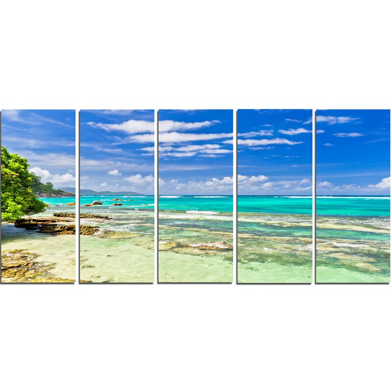 Tranquil Seychelles Tropical Beach 5 Piece Photographic Print on Wrapped Canvas Set