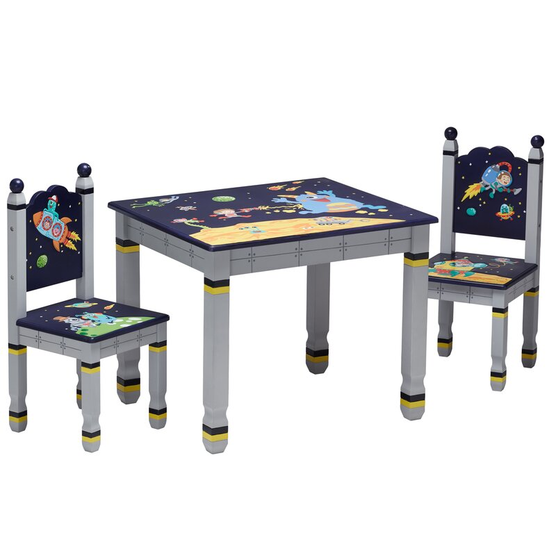 Outer Space Kids 3 Piece Writing Table and Chair Set
