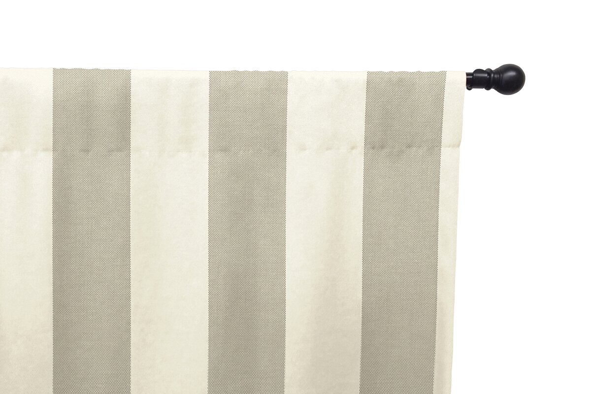 Striped Semi-Sheer Rod Pocket Single Curtain Panel