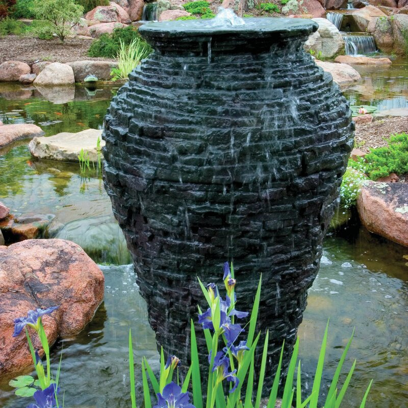 Plastic/Stone Large Stacked Slate Urn Fountain