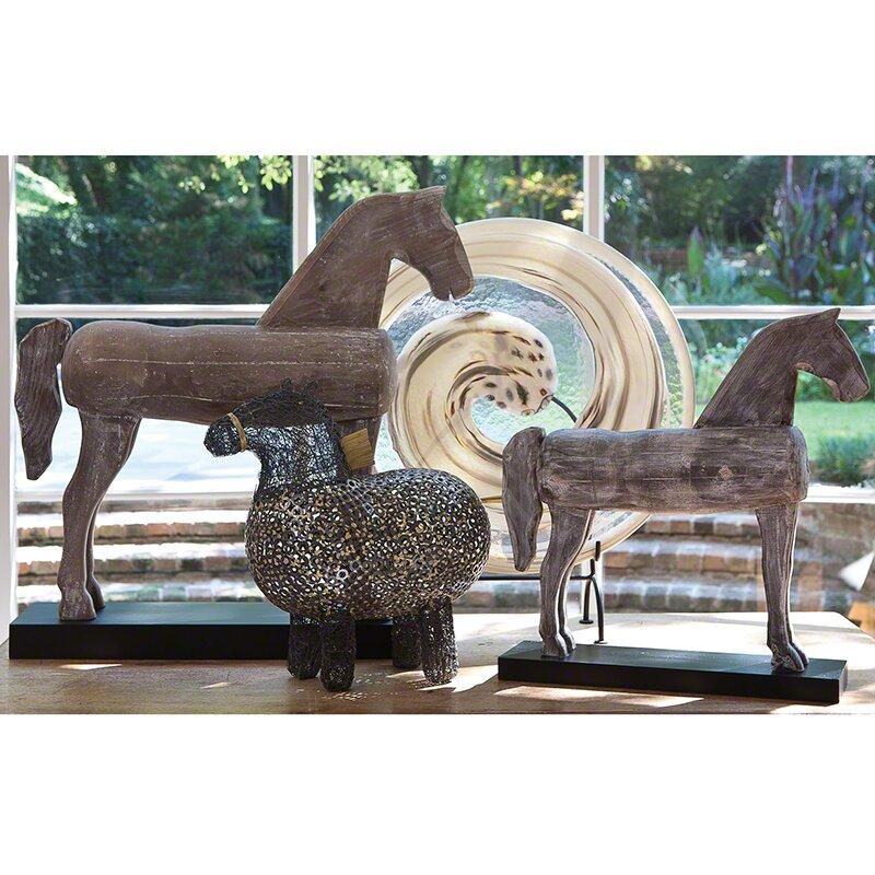 Grey Wooden Horse Statue