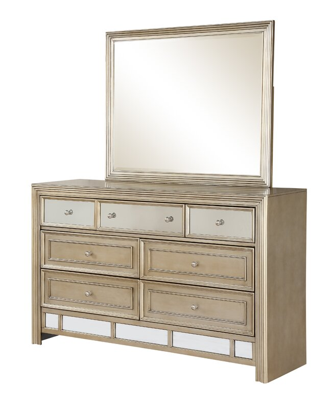 Champagne 7 Drawer Dresser with Mirror