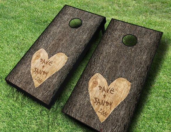 2' x 4' Wedding Tree Carved Solid Wood Cornhole Board