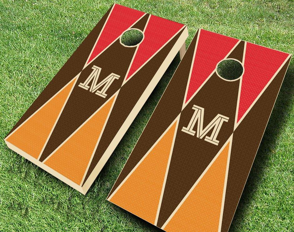 Colored Monogram Triangles Garage Cornhole Set