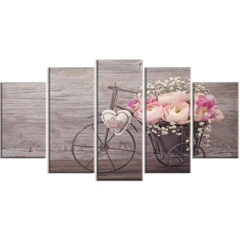 'Ranunculus Flowers in Bicycle Vase' 5 Piece Photographic Print on Wrapped Canvas Set
