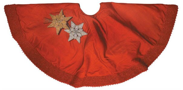 Silk Christmas Tree Skirt with Pebble Border