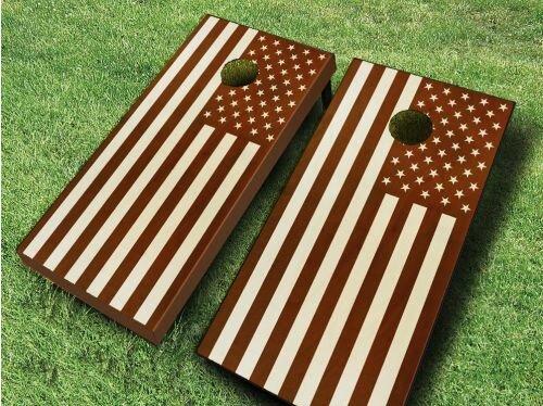 Stained US Flag Cornhole Set