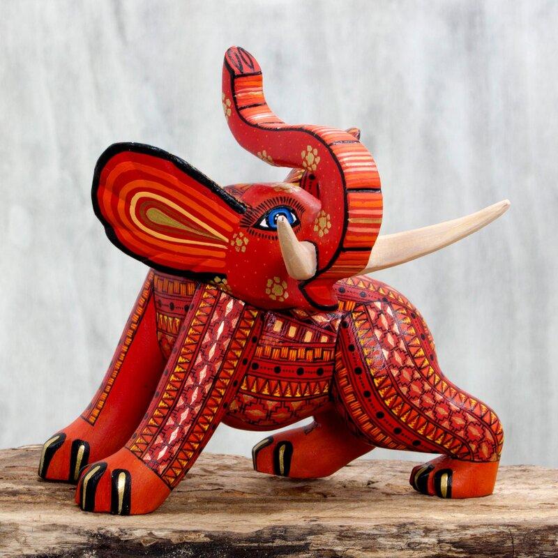 Artisan Crafted Wood Elephant Figurine
