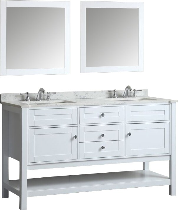"Givens 60"" Double Bathroom Vanity Set with Mirror"