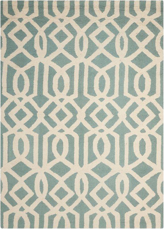Addingrove Hand-Knotted Wool Aqua/Ivory Area Rug