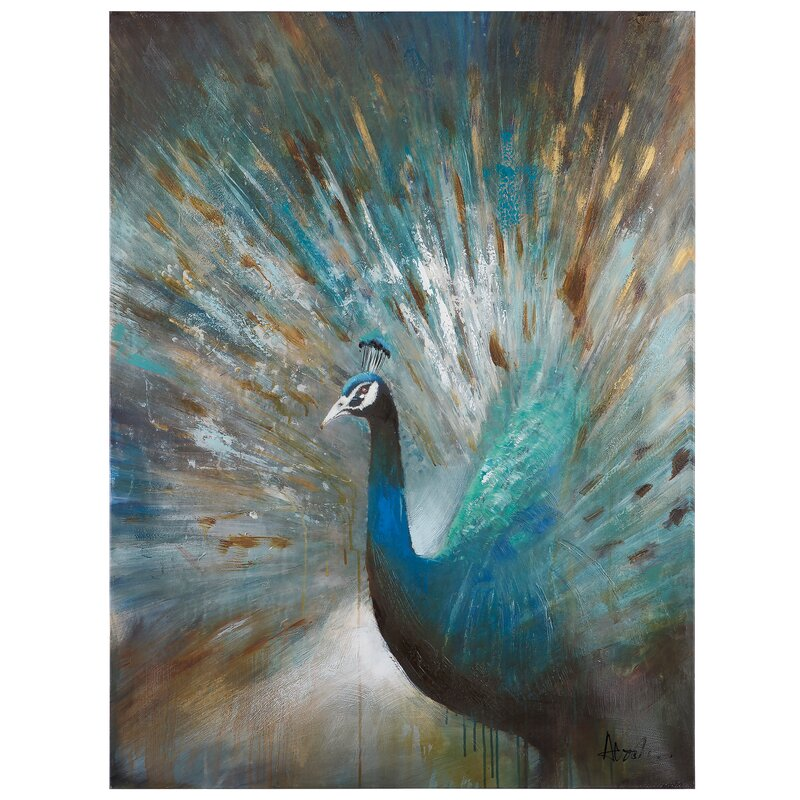 'Peacock Prowess' Acrylic Painting Print