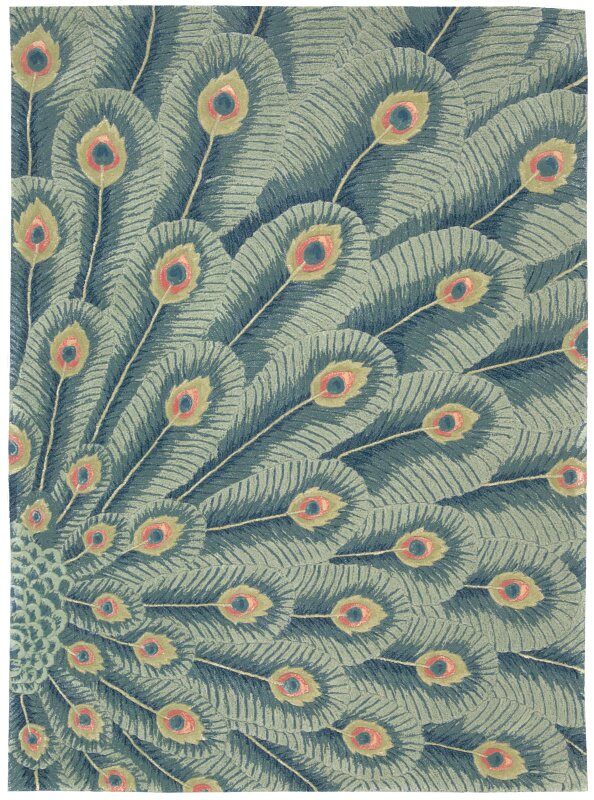 Downing Hand-Tufted Peacock Area Rug