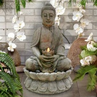 Buddha Fiberglass Serenity Fountain with LED Light