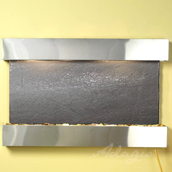 Sunrise Springs Natural Stone/Metal Square Edges Wall Fountain with Light