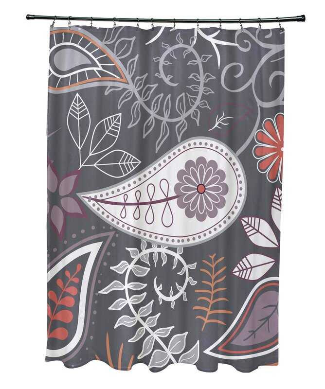 Orchard Lane Polyester Paisley Floral Single Shower Curtain