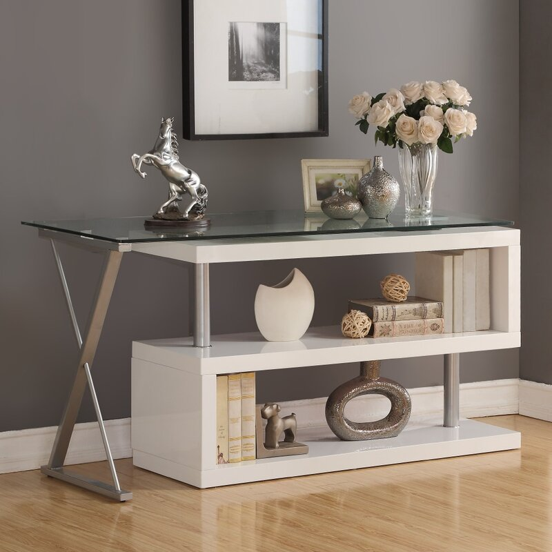 Lachlan Glass L-Shape Credenza desk