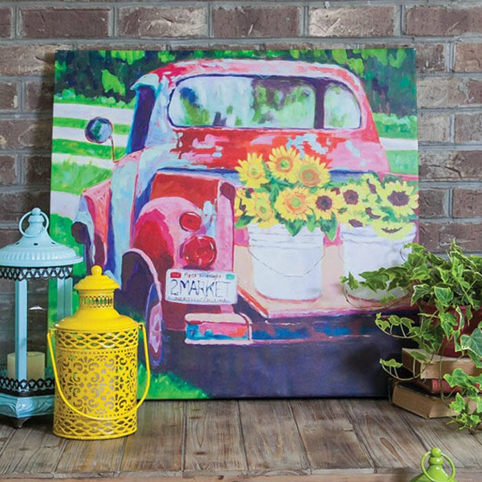 Red Truck Outdoor Painting Print on Canvas