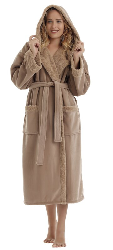 Women's Sherpa Trim Touch Fleece Bathrobe