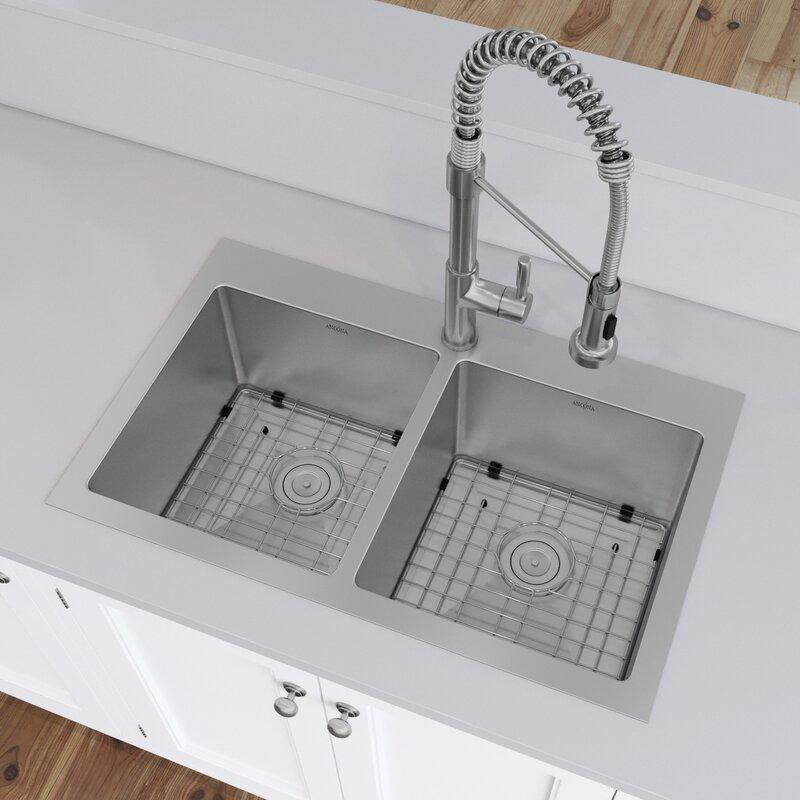 "Prestige Series 30"" L x 19"" W Double Basin Drop-in Kitchen Sink with Basket Strainer"