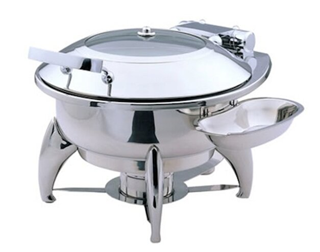 Large Round Chafing Dish with Glass Lid, Base and Spoon Holder