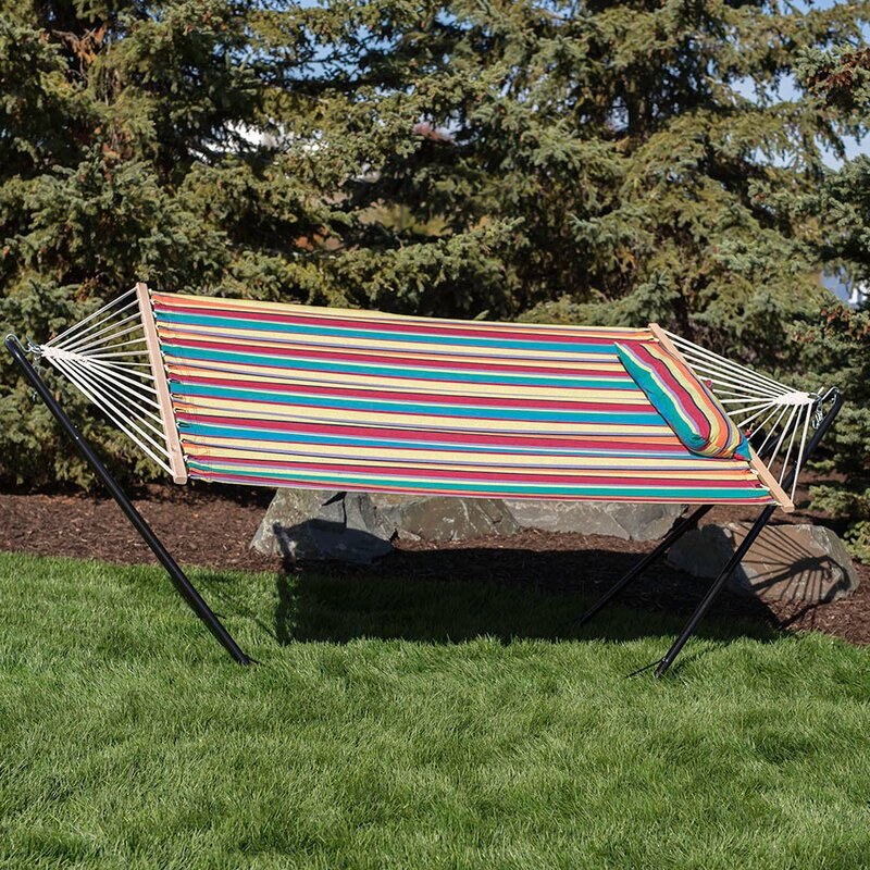 Sisler Cotton Fabric Hammock with Stand