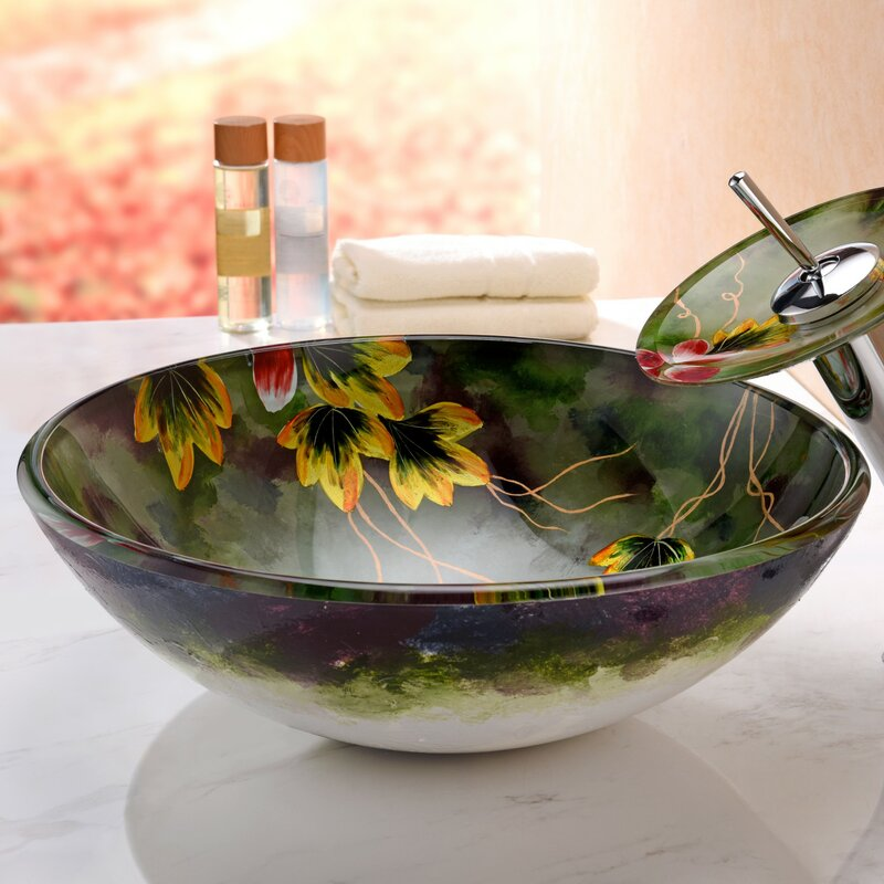 Impasto Glass Circular Vessel Bathroom Sink with Faucet