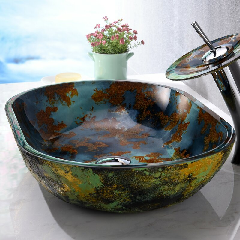 Voce Glass Oval Vessel Bathroom Sink with Faucet