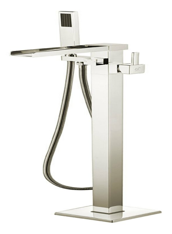 Union Double Handle Floor Mounted Clawfoot Tub Faucet with Hand Shower