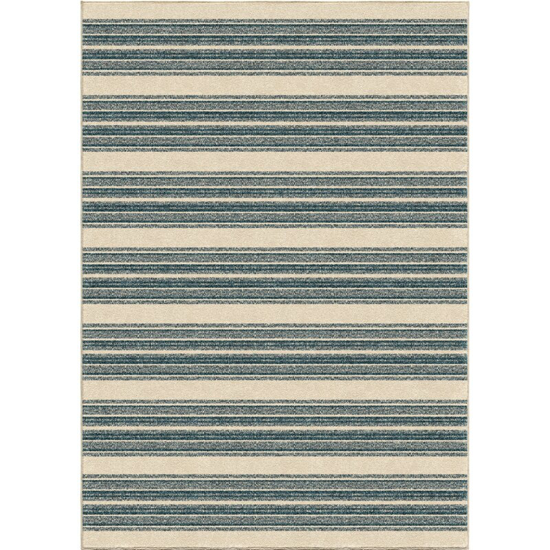 Portwood Stripe Admiral Blue/Beige Indoor/Outdoor Area Rug