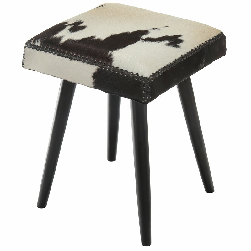 Syston Cowhide and Mahogany Accent Stool