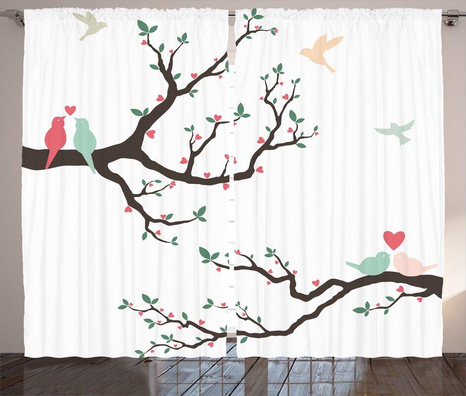 Edelmira Love Birds Nature/Floral Semi-Sheer Rod Pocket Curtain Panels (Set of 2)