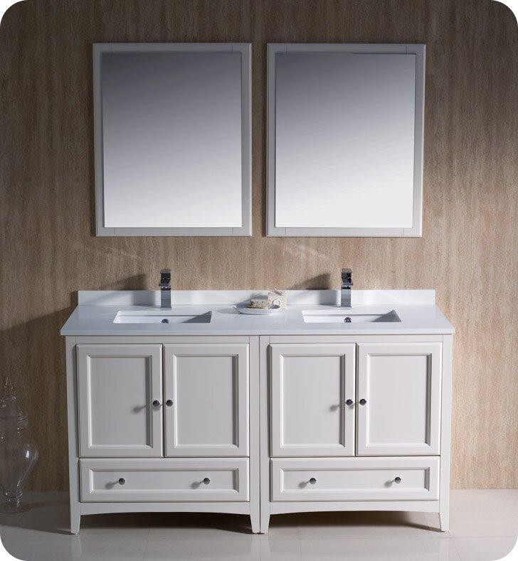 "Oxford 60"" Double Bathroom Vanity Set with Mirrors"